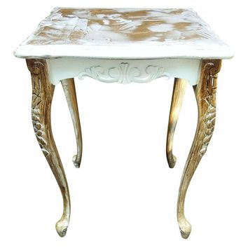 Pre-owned Distressed Queen Anne Table with Metallic Texture