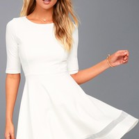 Sheer Factor White Mesh Skater Dress