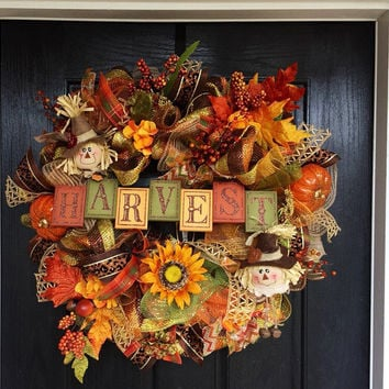 Scarecrow Mesh Wreath, Fall Deco Mesh Wreath, Autumn Mesh Wreath, Front Door Wreath, Thanksgiving   wreath, Deco Mesh Wreath