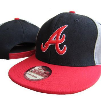 hcxx Atlanta Braves New Era MLB 9FIFTY Hat Black-Red