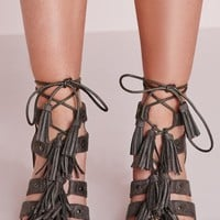Missguided - Tassel Trim Block Heeled Sandals Grey