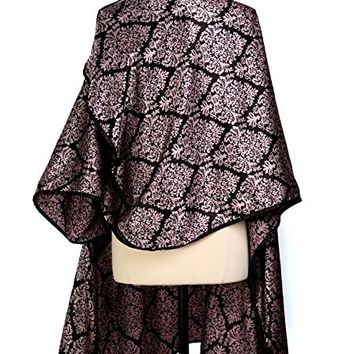Divine Damask Purple and Black Salon Hair Cutting Styling Cape