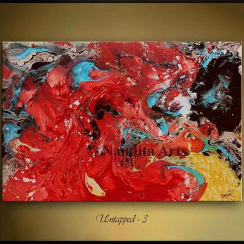 """Mixed Media Wall Art Red Gold Abstract Painting Canvas Modern Original Painting 36"""" Large Painting, Artwork Contemporary Art home decor"""