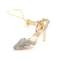 Perfect Gift - High Quality Golden Strap with High-heeled Shoe Charm by Silver Swarovski Crystals (