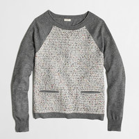 FACTORY TWEED FRONT BASEBALL SWEATER