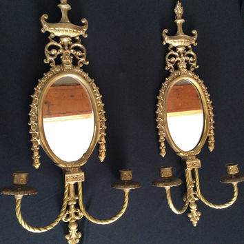 Large Pair Ornate Antique Brass Mirror Sconces Victorian 1900 - 1910