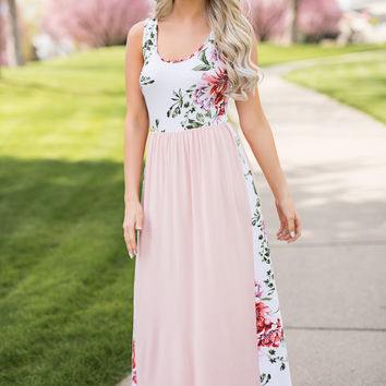 Spring Sunlight Floral Contrast Cinched Waist Maxi Dress (Pink)