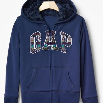 Gap Girls Cozy Fair Isle Logo Zip Hoodie