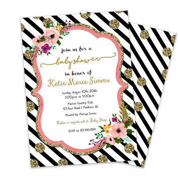 Gold Black Baby Shower Invitations - Faux Glitter Pink Trendy - Stripes Baby Shower Invites - Floral Watercolor Oh Baby Its a Girl Shower