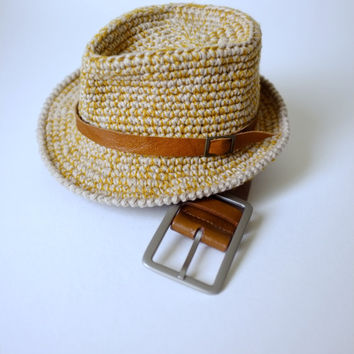 Baby Boy Fedora Hat Crochet Cotton Summer Hat Newborn Photography Props Baby Boy Shower Gift Boys Summer Hat Mila Hat