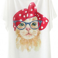 White Cat Print Wide Sleeve Graphic Tee