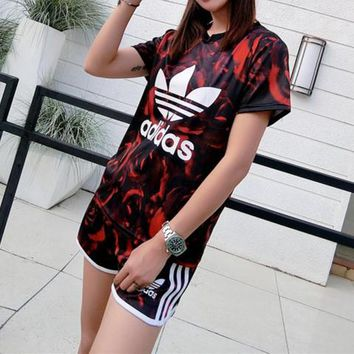 """Adidas"" Women Sport Casual Fashion Letter Multicolor Print Short Sleeve Shorts Set Two-Piece Sportswear"