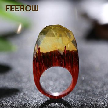 FEEHOW Brand Wedding Design Magic Forest Resin Wooden Rings Fashion Handmade Secret Rings for Men Women Jewelry FHRP012