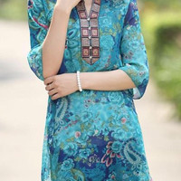 Blue Ethnic Style Floral Print Dress