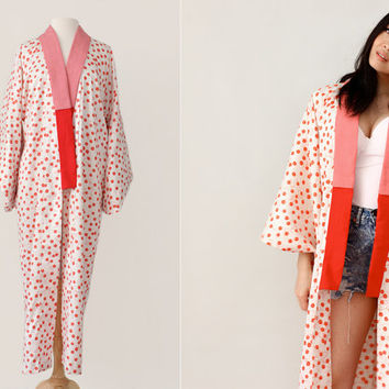 Vintage Japanese Kimono Mini Red Bells Print Long Robe - Vintage Lingerie - One Size Fits All