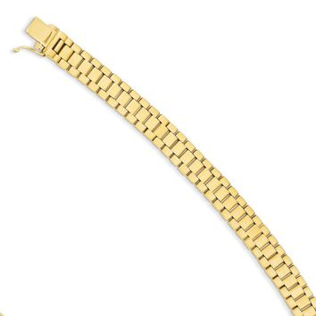 Men's 14k Yellow Gold 8mm Polished & Satin Panther Link Bracelet, 8 In