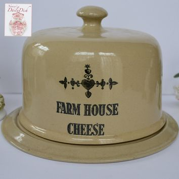 """Vintage English Black Transfer Printed """" Farm House Cheese """" Covered Cheese Dome Dish Transferware Advertising"""