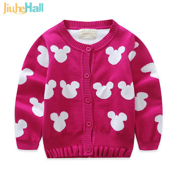 European and American Style Children's Cardigan Cartoon Mouse Knitted Sweater 100% Cotton Girls Outwear CMB224