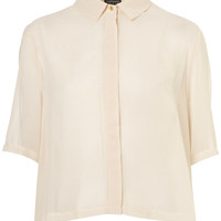 Crop Pleat Back Shirt - Tops - Clothing - Topshop USA