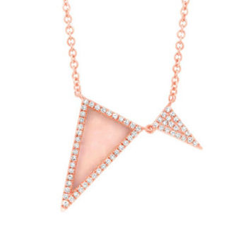0.14ct Diamond & 0.53ct Pink Opal 14k Rose Gold Triangle Necklace