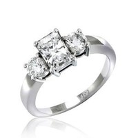 Bling Jewelry Sterling Silver 1.5 ct Emerald Cut CZ Three Stone Engagement Ring