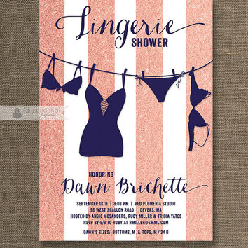 Navy & Coral Glitter Lingerie Shower Invitation Glitter Stripe Wedding Hens Party Bridal Shower Printable Digital or Printed - Dawn Style