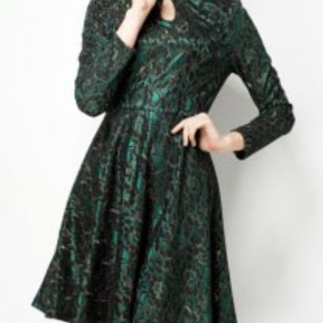 Vintage Stand-Up Collar Long Sleeve Flower Pattern Dress For Women