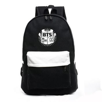[SGDOLL] 2017 KPOP Bangtan Boys Backpack BTS SUGA V JUNGKOOK JIMIN JIN Black Shoulder Bag Canvas Backpack 16111211