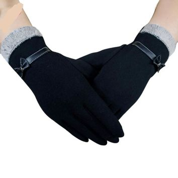 Fashion Patchwork Glove Women Winter Warm Bow Fur With Velvet Driving Full Finger Touchdscreen Outwear Gloves & Mittens