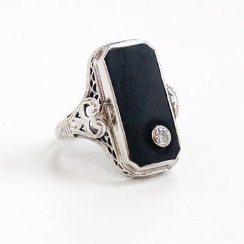 Antique 14K White Gold Black Onyx Stone & Diamond Ring - Vintage Statement 1920s Size 6 3/4 Art Deco Fine Filigree Cocktail Jewelry