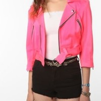 Urban Outfitters - Tripp NYC Neon Pink Denim Moto Jacket customer reviews - product reviews - read top consumer ratings