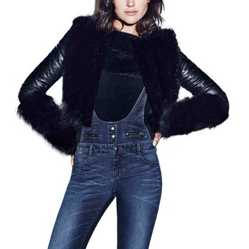 Fashion Womens Winter Coat Motorcycle Jacket Leather Faux Fur Outwear Cardigan Black