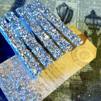 Set of 5 Silver Glittered Clothespins, Christmas Embellishments, Vintage  Tea Stained Gift Tag With Glitter, Accessorize Your Gift Packages