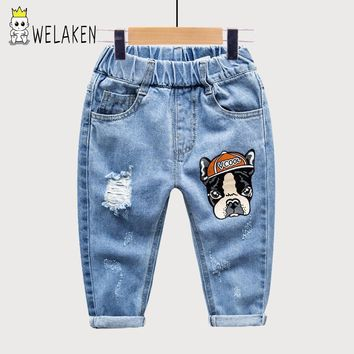 weLaken Children Trousers Cartoon Pattern Boys Jeans 2017 New Arrival Outerwear Casual Fashion Kids Denim Pants
