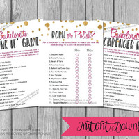 Printable bachelorette games / bachelorette party games / bachelorette game bundle / drink if game / porn or polish game / scavenger hunt