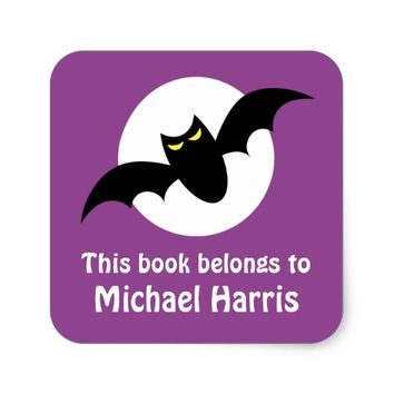 Bat in front of full moon purple bookplate book square sticker