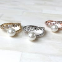 Pave Encrusted Pearl Ring