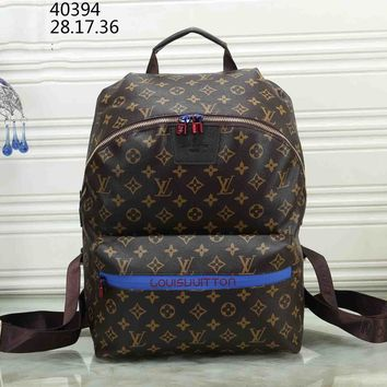 LV Louis Vuitton tide brand men and women classic old flower canvas travel bag backpack coffee print