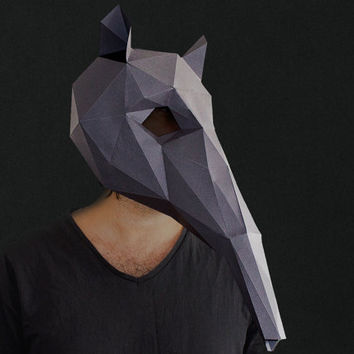 Make your own Anteater Mask, Animal Head,Instant Pdf download, DIY Halloween Paper Mask, Printable Mask, 3D Pattern, Polygon Masks