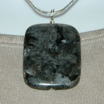 90ct. Black Metallic  Stone, Semi Precious, Agate, Pendant, Necklace, Rectangle, Natural Stone, 131-15