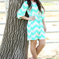 Slinky Chevron Tie Dress Mint