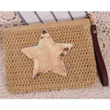 Women Straw Day Clutches Envelope Bag Luxury Bag Designer Handbag ladies Summer Embroidery Star Beach Woven Bag sac a main Bolsa