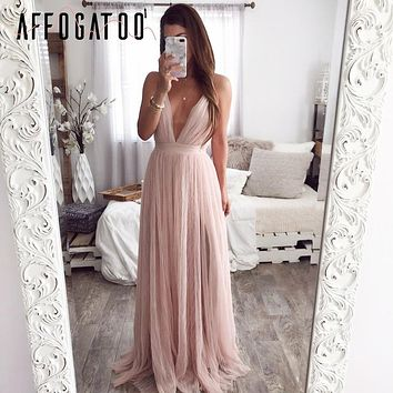 Affogatoo Strap striped mesh lace split women dress Sexy deep v neck backless maxi dress Autumn winter long party dress vestidos