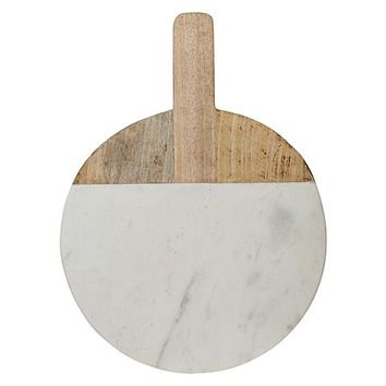 Wood/Marble Round Chopping Board with Handle by Casa Uno | Zanui