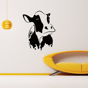 WALL DECAL VINYL STICKER ANIMAL COW HEAD DECOR SB689
