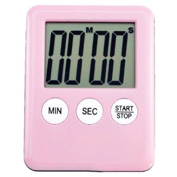 LCD Digital Kitchen Timer Count Down Up Magnetic Adsorption    Pink