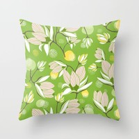 Magnolia Blossom Greenery Throw Pillow by Heather Dutton