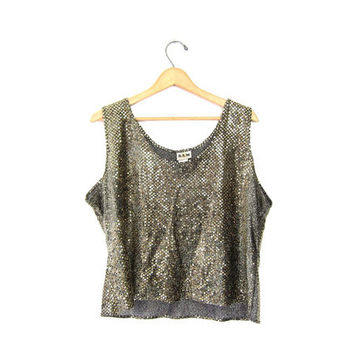 Vintage Sequins Tank Top Cropped Gold Disco Blouse Slouchy 80s Sheer Metallic Party Shirt Womens 1980s Glam Tank Top Large XL