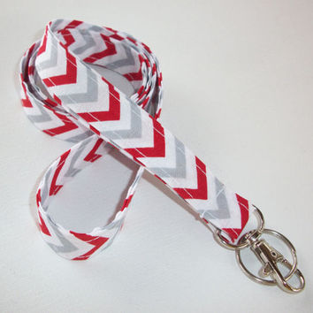 Lanyard  ID Badge Holder - Red White gray Chevron - Lobster clasp and key ring Zig Zag - ZigZag