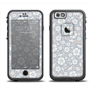 The Subtle White and Blue Floral Laced V32 Apple iPhone 6 LifeProof Fre Case Skin Set
